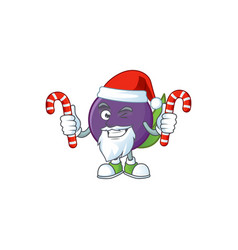 Santa with candy acai berries character for fresh vector