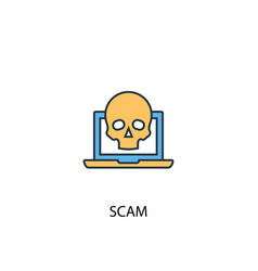 scam concept 2 colored line icon simple yellow vector image