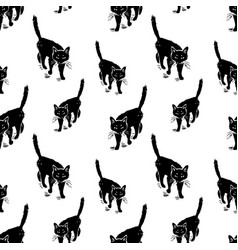 seamless pattern of the walking black cats vector image
