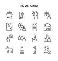 Set 16 eid al adha concept line icons 64x64 vector