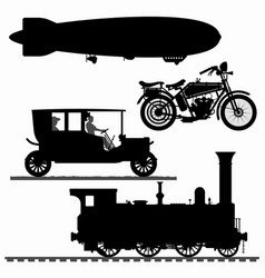 set different transport silhouettes vector image