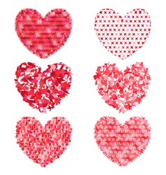 Set of multi-colored hearts to decorate and design vector image