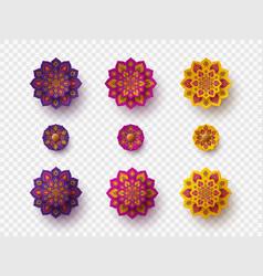 Set rangoli for diwali festival vector