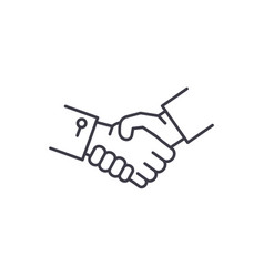 shake hands line icon concept shake hands vector image