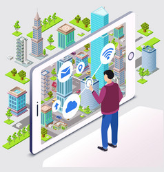 smart city of smartphone app vector image
