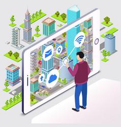 Smart city smartphone app vector