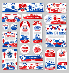 Soccer sport club tag or football game match label vector