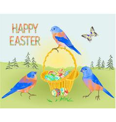 spring easter landscape forest birds bluebirds vector image