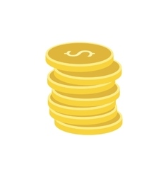 Stack of gold coins flat icon vector