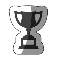 Sticker monochrome trophy cup with half shaded vector