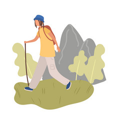 student boy with blue hat and backpack walking vector image