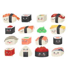 sushi sashimi and rolls cute and funny cartoon vector image