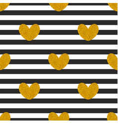 Tile pattern with stripes and golden hearts vector