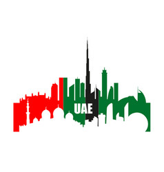 Uae landmarks and skyscrapers silhouettes vector