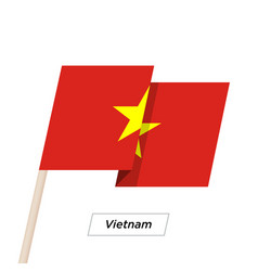 vietnam ribbon waving flag isolated on white vector image