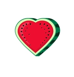 Watermelon slice icon isolated heart shaped vector image