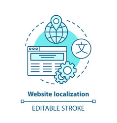 Website localization blue concept icon website vector