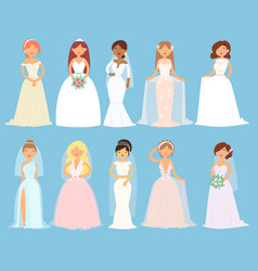 Wedding dresses on woman bride character vector