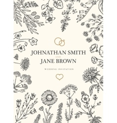 Wedding invitation in boho style Wild flowers and vector image