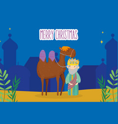 wise king and camel night village manger nativity vector image