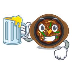 With juice bulgogi in a cartoon shape vector