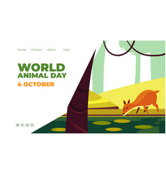 World animal day website homepage template vector