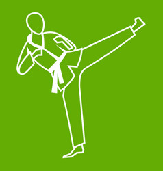 Wushu master icon green vector
