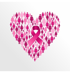 Breast cancer awareness ribbon women heart shape vector image