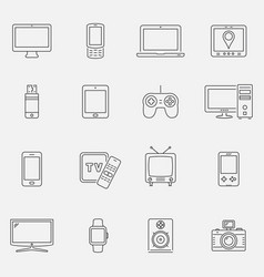 devices and technology icons set thin line style vector image