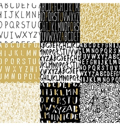 Different Alphabets Seamless Patterns Collection vector image vector image