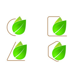 green leaf logo icon vector image vector image