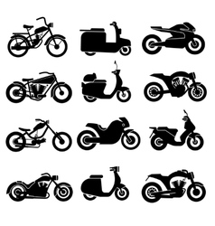 Motorcycle black icons set vector image