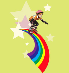 roller-girl rushes along the rainbow vector image