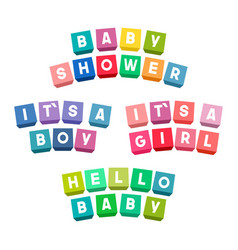 baby shower lettering on colorful toy bricks vector image