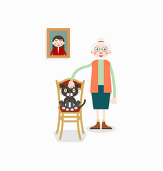 Elderly woman and cat in chair vector