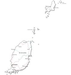 Grenada Black White Map vector image