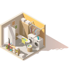 isometric low poly laundry room icon vector image vector image