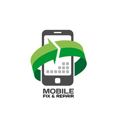 Mobile devices service and repair logo template vector image vector image