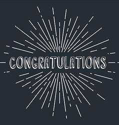 congratulations greetings sunrays retro theme vector image vector image