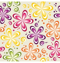 seamless abstract 70s flowers dots pattern vector image vector image