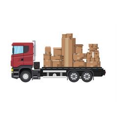 truck transporting brown cardboard package vector image
