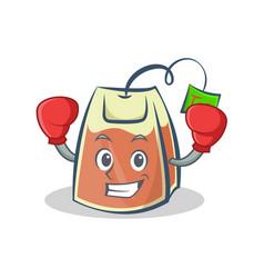 Boxing tea bag character cartoon vector