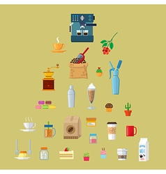 cafe equipment icons collection vector image
