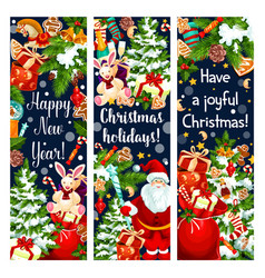 christmas new year holiday greeting banners vector image