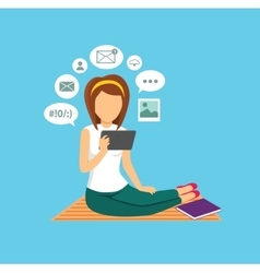 Computer User Woman Isolated Icon vector image
