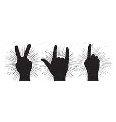 Grunge hand signs peace rock and indication finger vector image