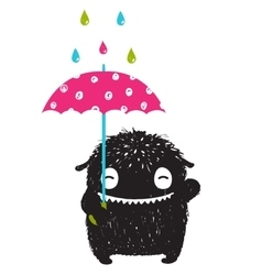 Monster for Kids with Umbrella under Colorful Rain vector image vector image