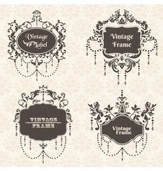 Set Vintage Frame collection with FLower elements vector image vector image