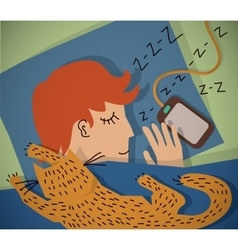 Sleeping young man with cat color vector image vector image