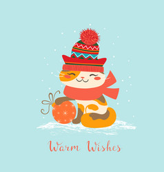 warm wishes cat vector image